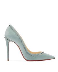Zapatos de tacón de cuero celestes de Christian Louboutin