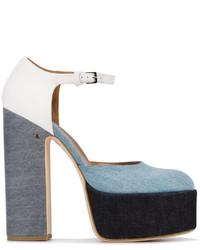Zapatos de tacón de cuero celestes de Laurence Dacade