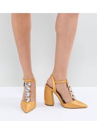 Zapatos de tacón de cuero con adornos amarillos de ASOS DESIGN
