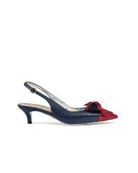Zapatos de Tacón de Cuero con Adornos Azul Marino de Gucci