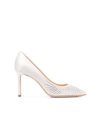 Zapatos de tacón de cuero con adornos blancos de Jimmy Choo