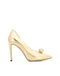 Zapatos de tacón de cuero con adornos dorados de Jimmy Choo