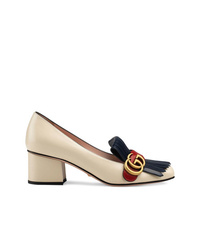 Zapatos de Tacón de Cuero con Adornos Beige de Gucci