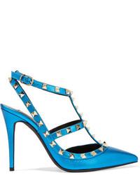 Zapatos de tacón de cuero con adornos en verde azulado de Valentino