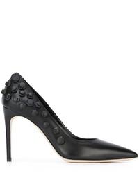 Zapatos de tacón de cuero con adornos negros de Dsquared2