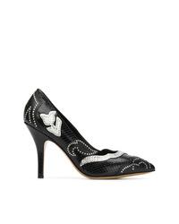 Zapatos de tacón de cuero con adornos negros de Isabel Marant