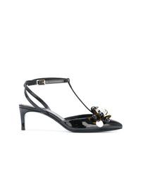 Zapatos de tacón de cuero con adornos negros de Lanvin