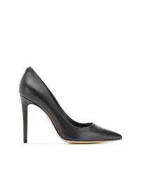 Zapatos de tacón de cuero con adornos negros de Salvatore Ferragamo