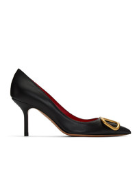 Zapatos de tacón de cuero con adornos negros de Valentino