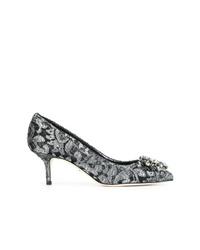 Zapatos de tacón de cuero con adornos plateados de Dolce & Gabbana