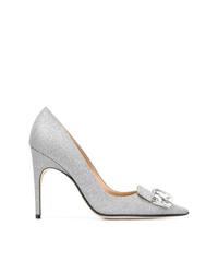 Zapatos de tacón de cuero con adornos plateados de Sergio Rossi