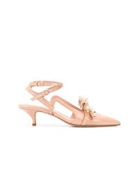 Zapatos de tacón de cuero con adornos rosados de RED Valentino