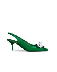 Zapatos de tacón de cuero con adornos verdes de Burberry