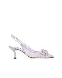 Zapatos de tacón de cuero con adornos violeta claro de Dolce & Gabbana