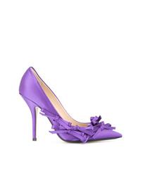 Zapatos de tacón de cuero con adornos violeta claro de N°21
