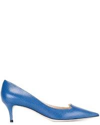 Zapatos de tacón de cuero con estampado geométrico azules de Jimmy Choo