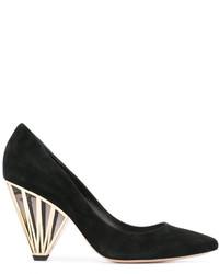 Zapatos de Tacón de Cuero con estampado geométrico Negros de Nicholas Kirkwood