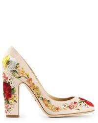 Zapatos de tacón de cuero con print de flores en beige