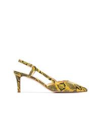 Zapatos de tacón de cuero con print de serpiente amarillos