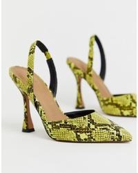 Zapatos de tacón de cuero con print de serpiente amarillos de ASOS DESIGN