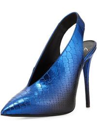Zapatos de tacón de cuero con print de serpiente azules