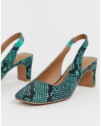 Zapatos de tacón de cuero con print de serpiente en verde azulado de ASOS DESIGN