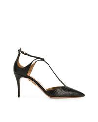 Zapatos de tacón de cuero con print de serpiente negros de Aquazzura