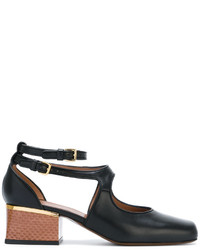 Zapatos de tacón de cuero con print de serpiente negros de Marni