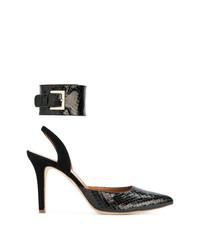Zapatos de tacón de cuero con print de serpiente negros de Via Roma 15