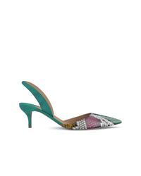 Zapatos de tacón de cuero con print de serpiente verdes de Paul Andrew