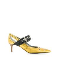 Zapatos de tacón de cuero con recorte amarillos de Bottega Veneta