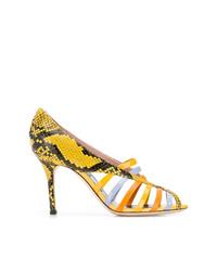 Zapatos de tacón de cuero con recorte amarillos de Emilio Pucci