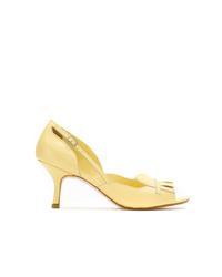 Zapatos de tacón de cuero con recorte amarillos de Sarah Chofakian