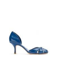 Zapatos de tacón de cuero con recorte azules de Sarah Chofakian