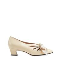 Zapatos de Tacón de Cuero con Recorte Beige de Gucci