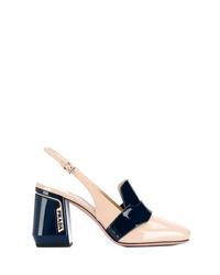 Zapatos de tacón de cuero con recorte en beige de Prada