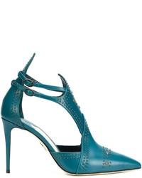 Zapatos de tacón de cuero con recorte en verde azulado de Paul Andrew