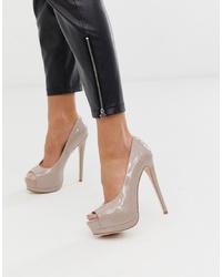 Zapatos de tacón de cuero con recorte marrón claro de ASOS DESIGN