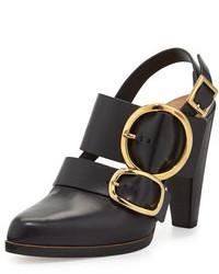 Zapatos de tacón de cuero con recorte negros