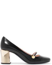 Zapatos de Tacón de Cuero con Recorte Negros de Fendi