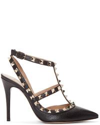 Zapatos de tacón de cuero con recorte negros de Valentino