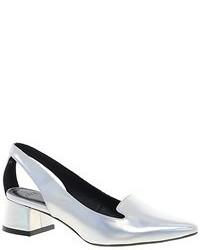 Zapatos de tacón de cuero con recorte plateados de Asos