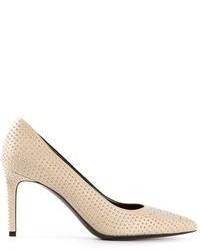 Zapatos de Tacón de Cuero con Tachuelas Beige de Saint Laurent