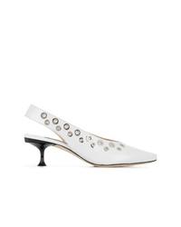 Zapatos de tacón de cuero con tachuelas blancos de Sergio Rossi