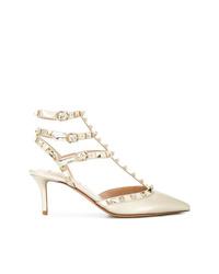 Zapatos de tacón de cuero con tachuelas blancos de Valentino