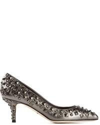Zapatos de tacón de cuero con tachuelas grises de Dolce & Gabbana