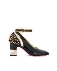 Zapatos de tacón de cuero con tachuelas negros de Gucci
