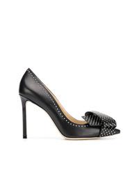 Zapatos de tacón de cuero con tachuelas negros de Jimmy Choo