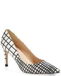 Zapatos de tacón de cuero de cuadro vichy en blanco y negro