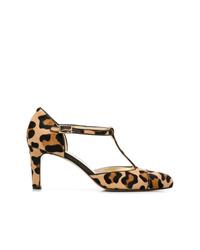 Zapatos de tacón de cuero de leopardo marrón claro de Antonio Barbato